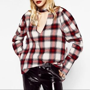 Zara Plaid Top